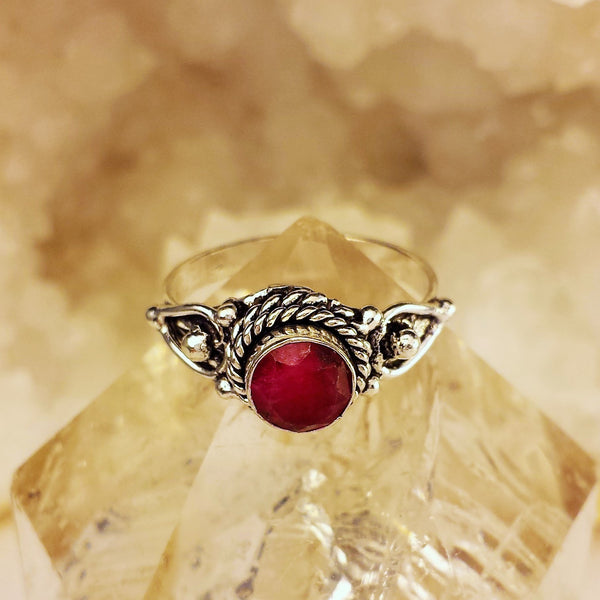 Indian Design Ring With Raw Ruby  GR-B2