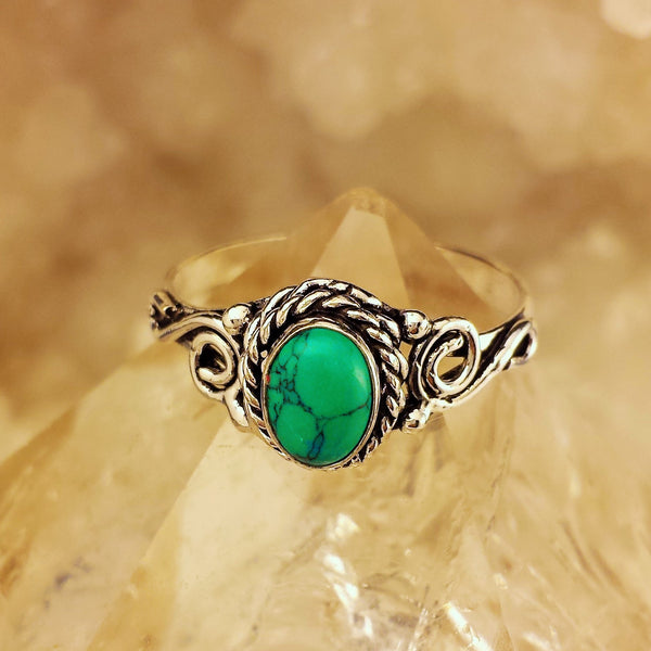 Indian Design Ring With Turquoise  GR-B3
