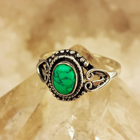Indian Design Ring With Turquoise  GR-B5