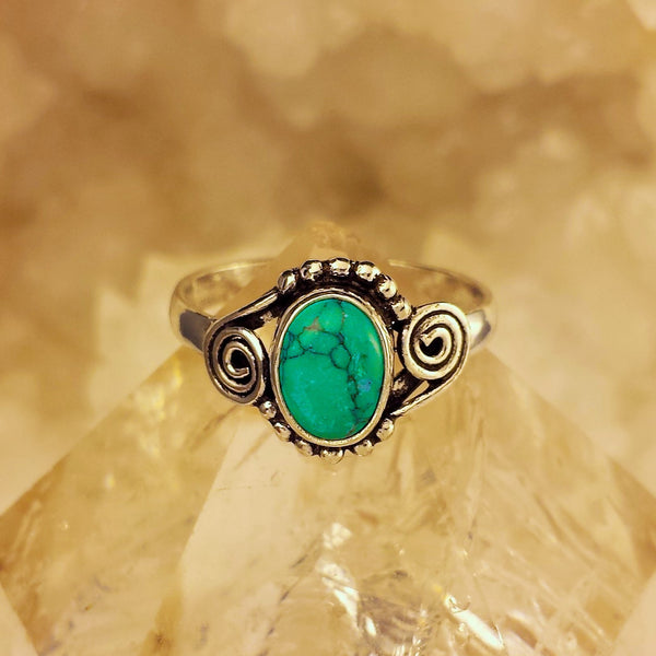 Indian Design Ring With Turquoise  GR-B6