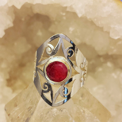 Indian Design Ring With Raw Ruby  GR-B7