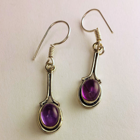 Indian Earrings With Amethyst   GS-C1