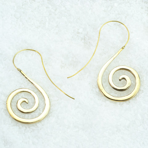 Curly Brass Earrings BS-A206