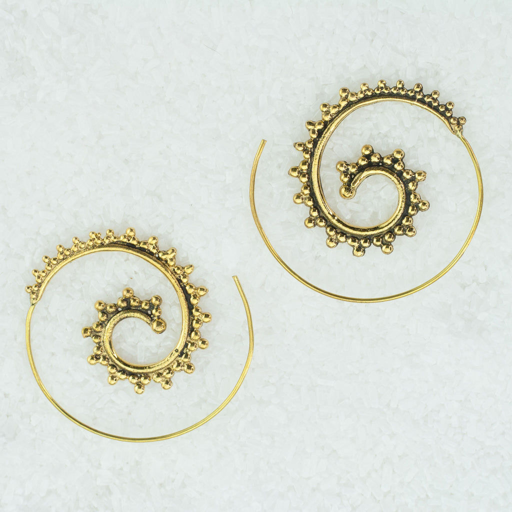 Spiral Indian Brass Earrings - BS-B4