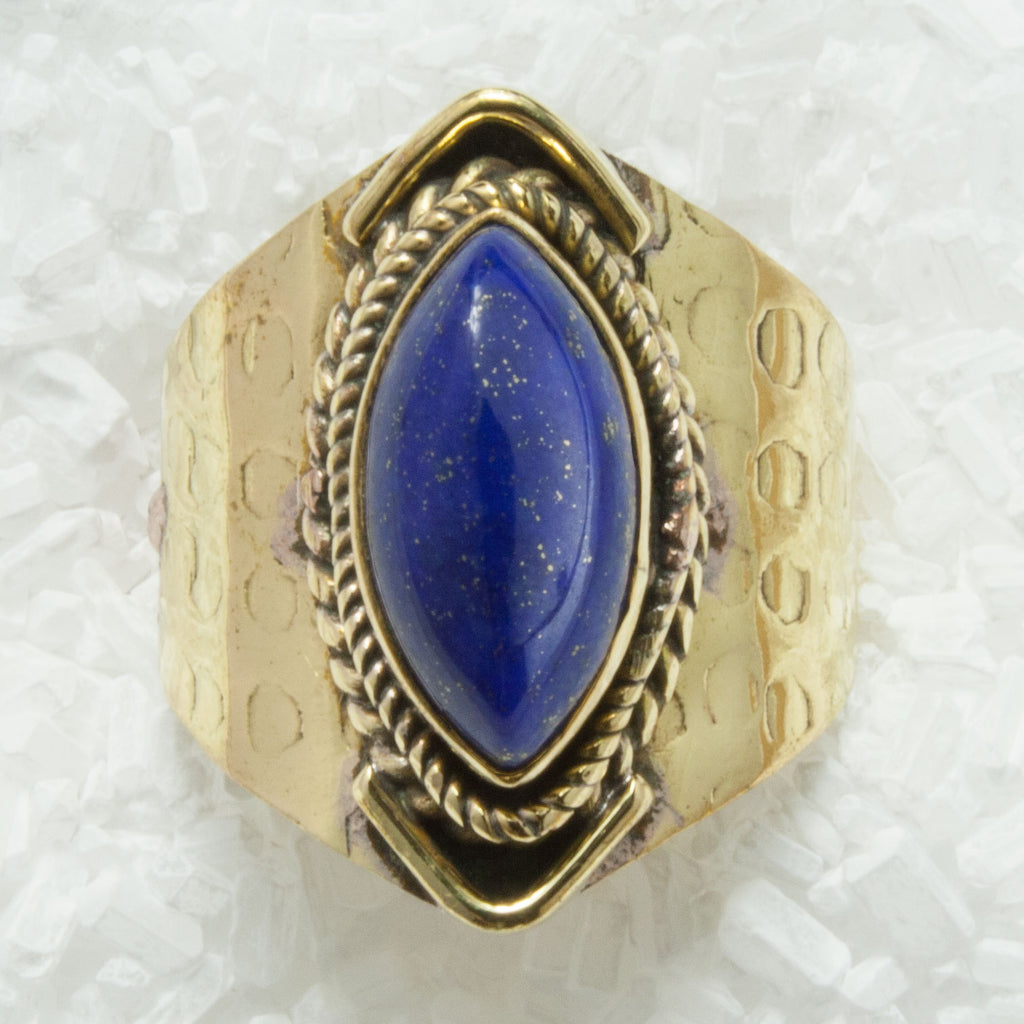 Brass Ring With Lapis Lazuli BR-B24