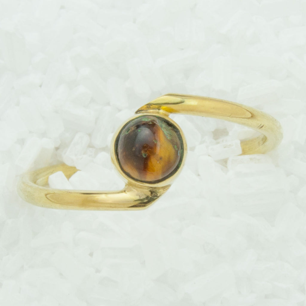 Elegant Brass Ring With Tiger's Eye BR-C6