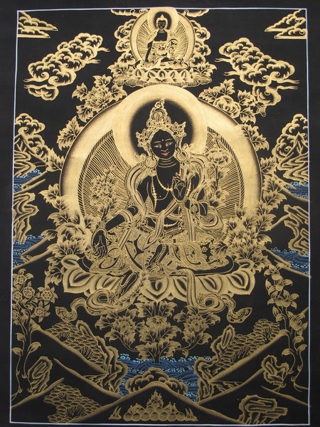 Green Tara, Gold on Black 19