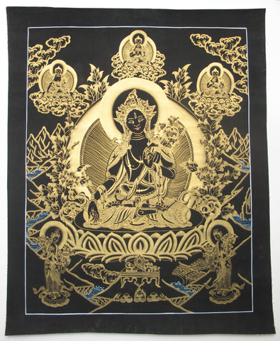White Tara, Gold on Black 19.5