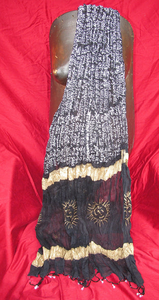Gayatri Mantra, Gold and White on Black, Lotus Scarf