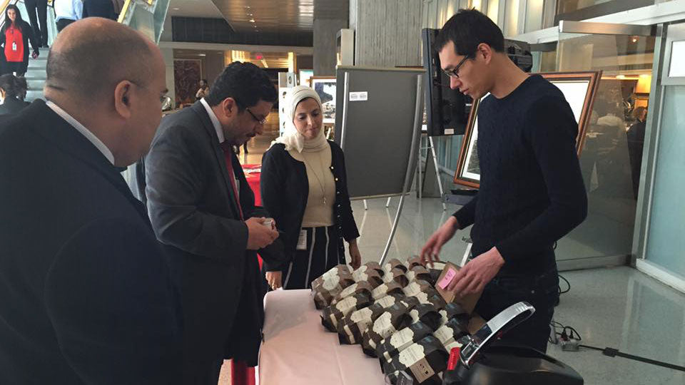Yemen's Ambassador Dr. Ahmed Awad bin Mubarak trying coffee