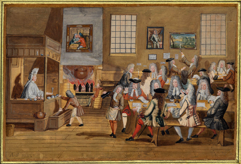 Busy 17th Century Coffee Shop, colorful drawing