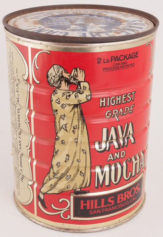 Red Mocha-Java Tin Coffee Can (Hills Bros, San Francisco, CA)