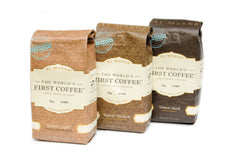three Al Mokha coffee bags