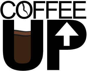 """Coffee Up"" word graphic with U a coffee cup"