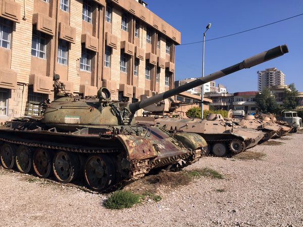 Old Kurdistani tank and other army vehicles