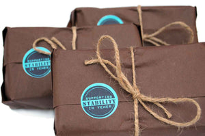 three coffe bags gift wrapped