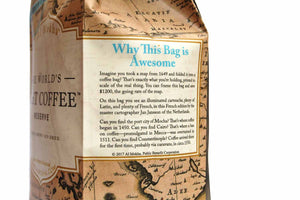 Description of why this coffee bag is awesome—it's a 1649 Jan Jansson map printed at original scale