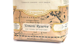 "Closeup of ""Yemeni Reserve"" coffee bag label"