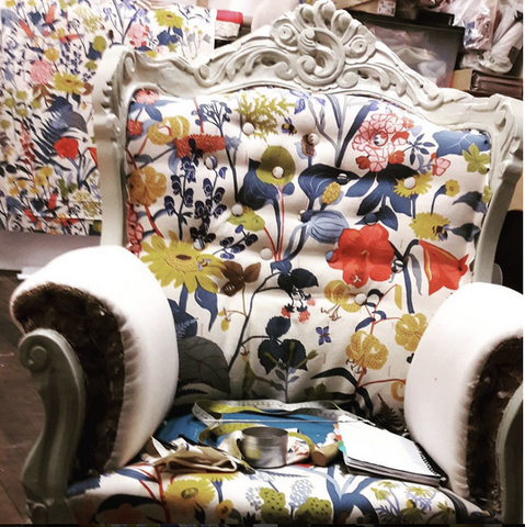upholstered throne
