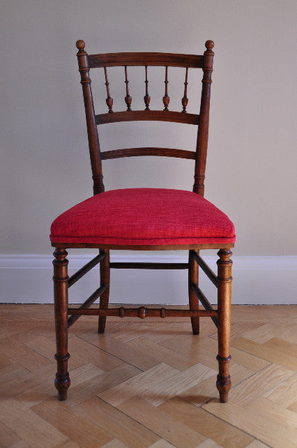 French Occasional Chair. Covered in red linen.