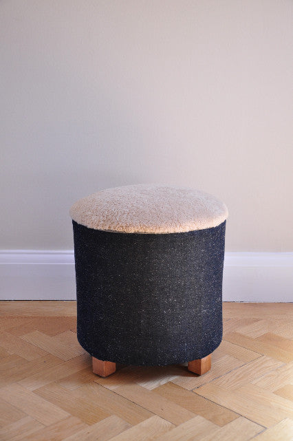 1940s Vintage Stool in Denim. Covered in raw linen denim and merino sheepskin.