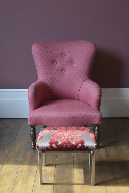 Small modern armchair. This is a modern beech frame, traditionally upholstered using coir fibre, covered in Linen Union (Linen & cotton) from Linwood fabrics.