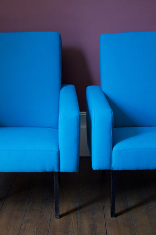 Pair of French Blue Aquarius Chairs