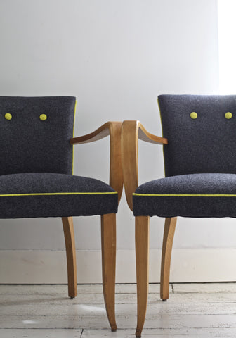 1940's Bridge Chairs in Wool Felt Fabric