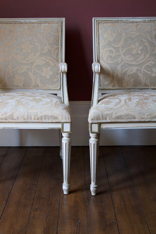 Pair Danish Armchairs with Distressed Paint Finish