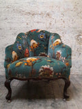 Artemis velvet Tub chair with spat feet  circa 1930