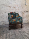 House of Hackney Artemis velvet Tub chair with spat feet  circa 1930
