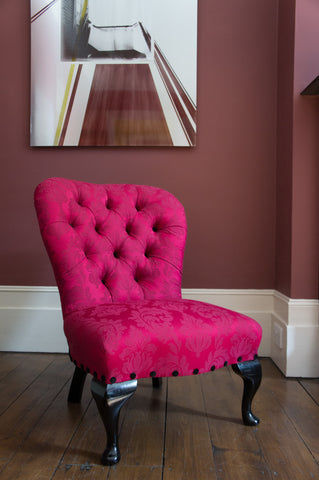 Traditional Cerise Damask Bedroom Chair