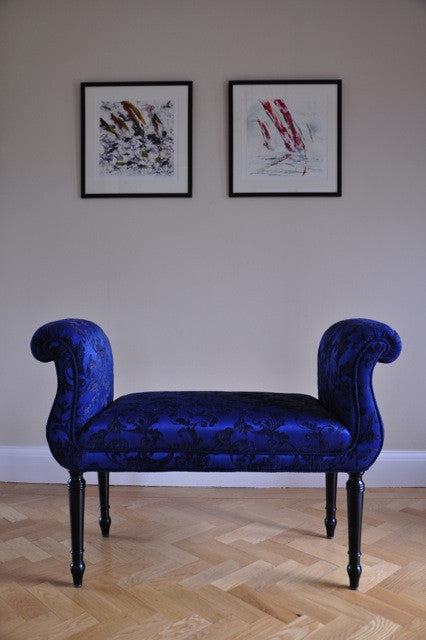 Damask Love Seat. A gorgeous traditionally upholstered double end scroll bench covered in a stunning blue damask.