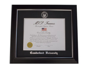 Black Satin Diploma Frame with Silver Accents