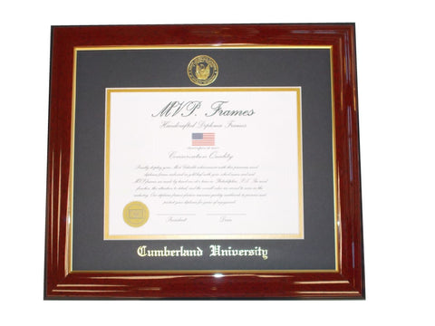 Cherry and Gold Diploma Frame