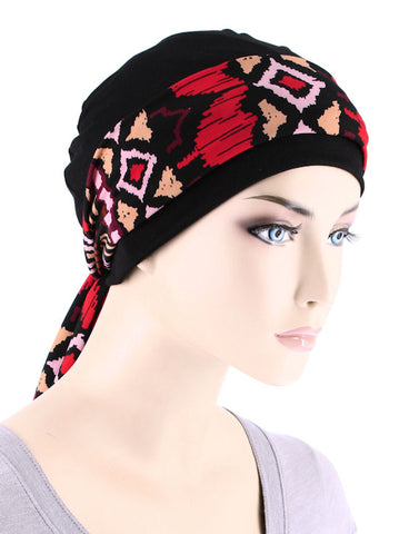 CE-CAPSASH-812#Black Chemo Cap with Ashaki Africa Red Print Sash