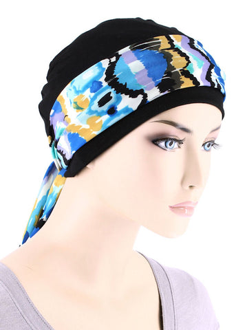 CE-CAPSASH-813#Black Chemo Cap with Caribbean Blue Print Sash