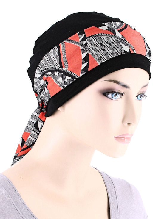 CE-CAPSASH-814#Black Chemo Cap with Peach Saint Tropez Print Sash