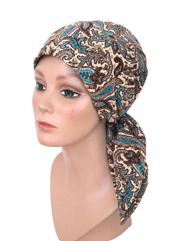 chemo scarves fashion head scarf turquoise brown paisley