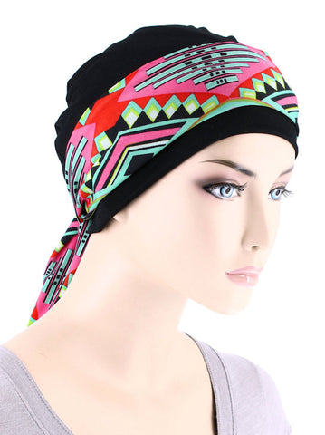 CE-CAPSASH-817#Black Chemo Cap with Pink Tropical Punch Print Sash