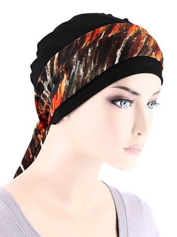 CE-CAPSASH-819#Black Chemo Cap with Red Amber Print Sash