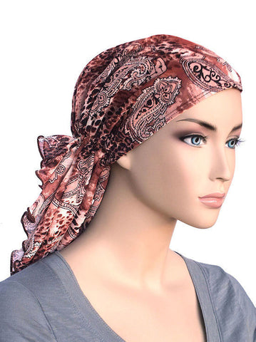 head wraps for cancer patients bohemian scarf in leopard pink paisley chiffon 333