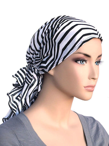 head wraps for cancer patients bohemian scarf in zig zag black white chiffon 334