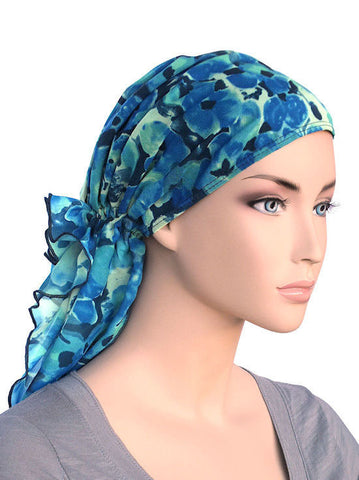 head wraps for cancer patients bohemian scarf in blue water floral chiffon 339