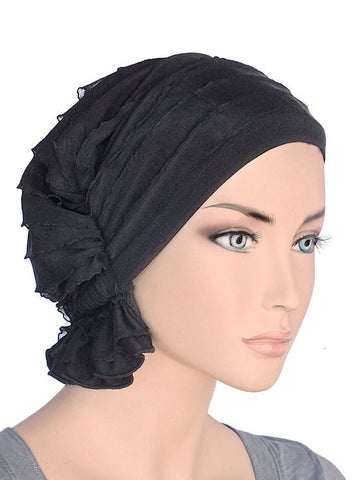 chemo beanie abbey cap in ruffle black 419