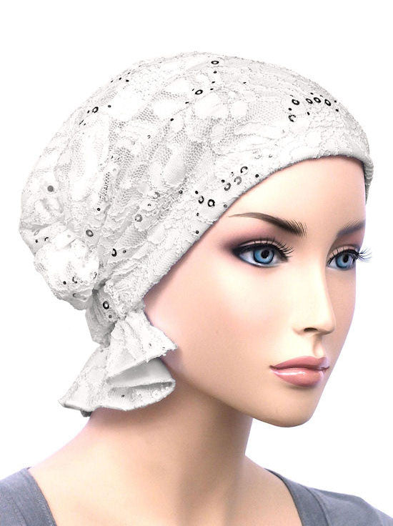 chemo beanie abbey cap in lace sequin white 568