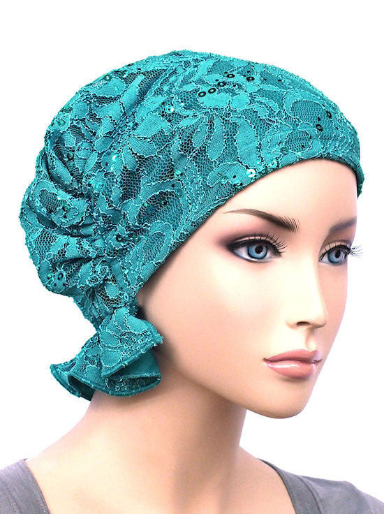 chemo beanie abbey cap in lace sequin turquoise 569