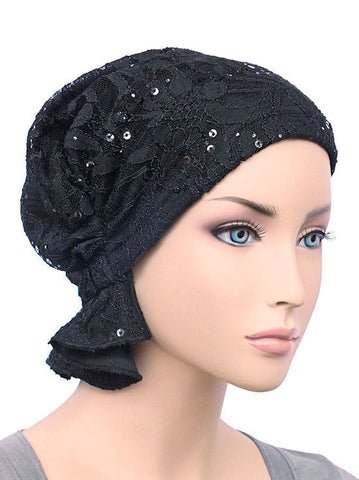 chemo beanie abbey cap in lace sequin black 570