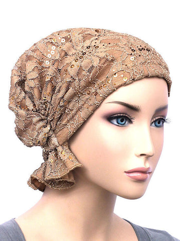 chemo beanie abbey cap in lace sequin beige 571