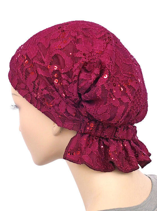 chemo beanie abbey cap in lace sequin plum 572a